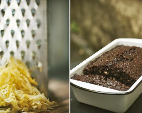 Gâteau aux zucchinis, chocolat noir et pacanes