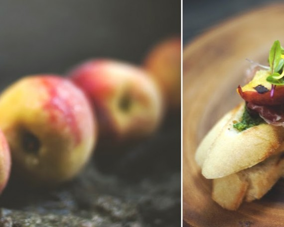 Crostini aux pêches, cerises, Serrano, basilic